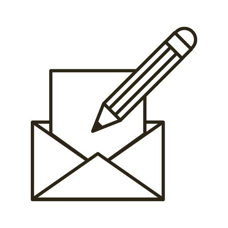 envelope mail with pencil icon vector illustration design