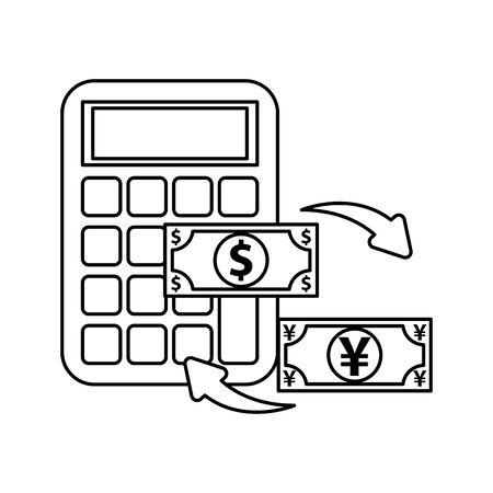 calculator math with dollar and yen bills vector illustration design