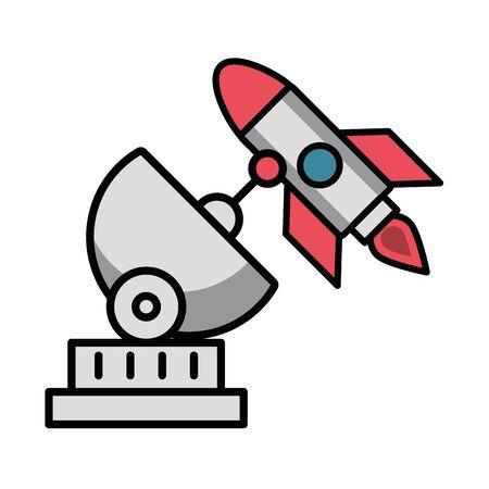 antena satellite communication with rocket vector illustration design