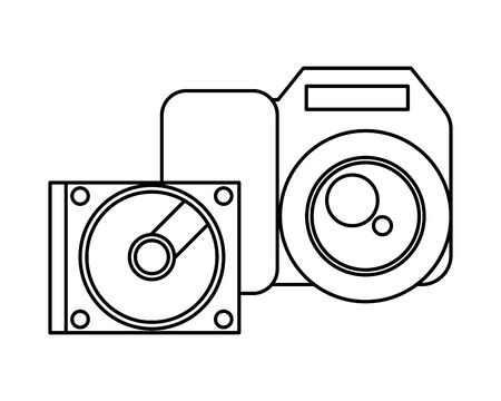 compact disk device and camera photographic vector illustration design