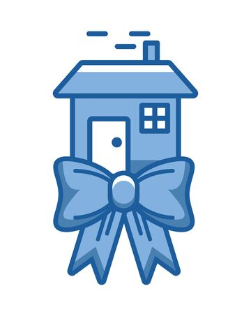 happy merry christmas house with bowtie vector illustration design