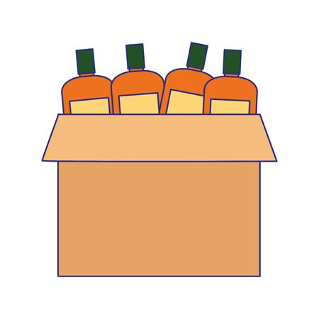 box with bottles icon over white background, vector illustration