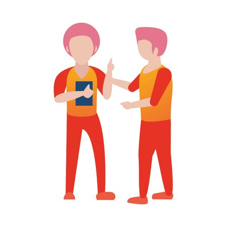 young men using smartphone avatars characters vector illustration design Foto de archivo - 140206191