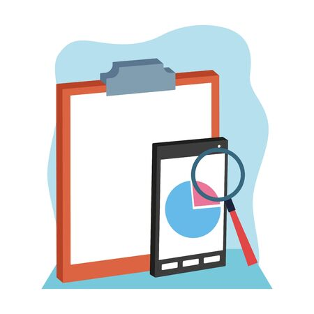 clipboard with smartphone and magnifying glass over white and blue background, colorful design , vector illustration