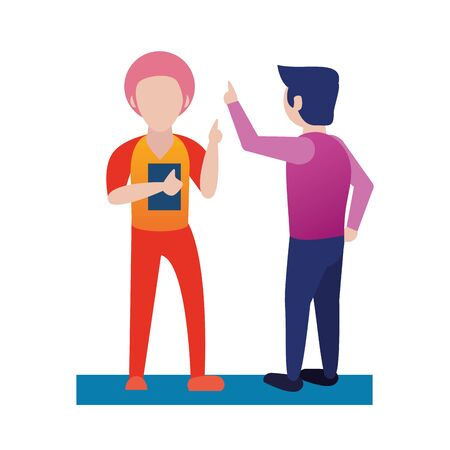 young men using smartphone avatars characters vector illustration design