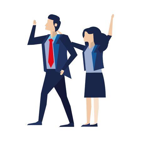 elegant business couple workers avatars characters vector illustration design Foto de archivo - 140206479