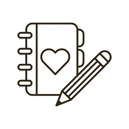happy valentines day heart in diary vector illustration design 矢量图像