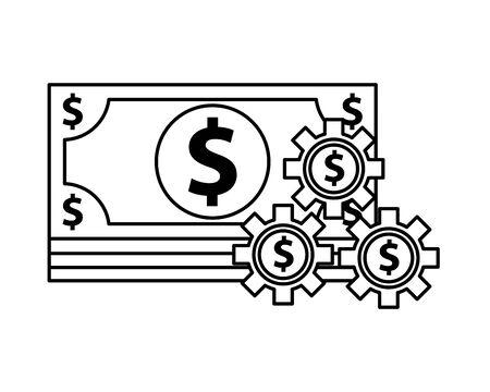 bills money with gears dollars vector illustration design Ilustracja