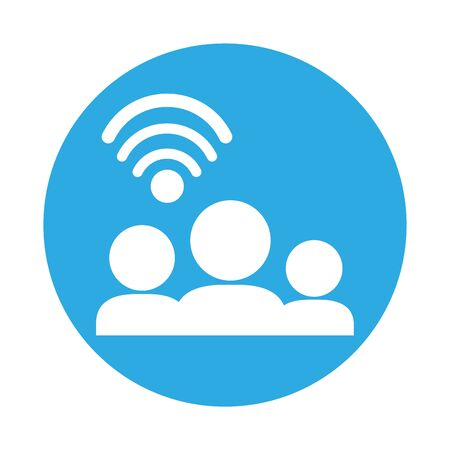 group of users with wifi connection signal vector illustration design 일러스트