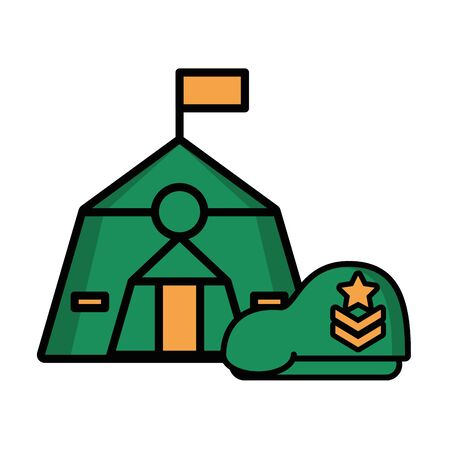tent military force with green beret vector illustration design Ilustrace