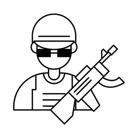 soldier military force with rifle vector illustration design Ilustrace