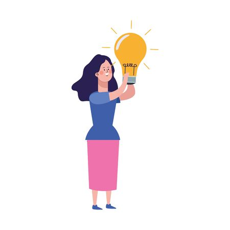 cartoon girl with light bulb over white background, colorful design, vector illustration