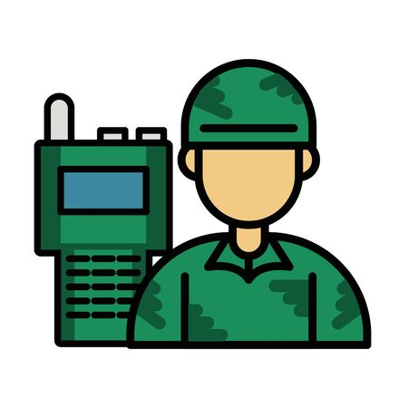 soldier military force with radio communicator vector illustration design