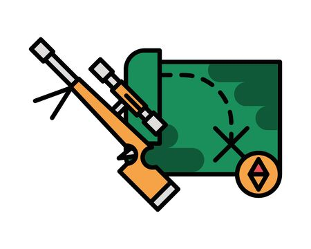 sniper gun military force with paper map vector illustration design