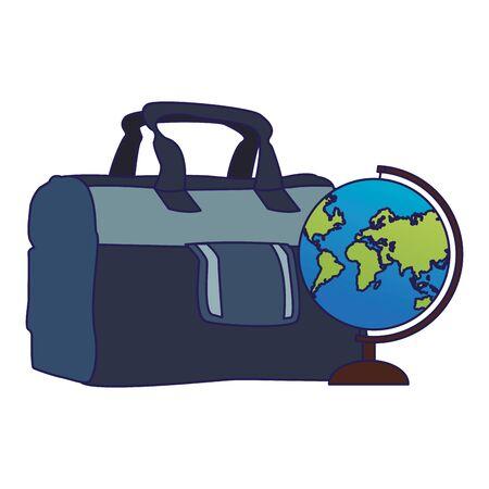 travel handbag and globe icon over white background, vector illustration