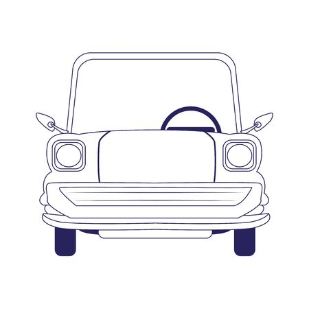 classic car icon over white background, flat design, vector illustration