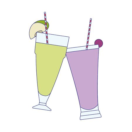 coconut and grape smoothies cups over white background, vector illustration