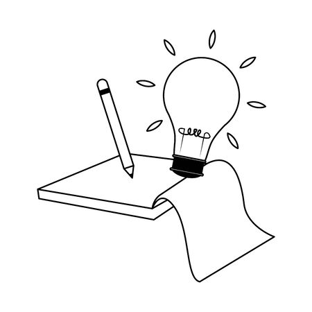pencil with bulb light and notebook over white background, flat design, vector illustration