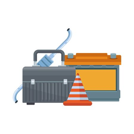 tools box, traffic cone and car battery over white background, vector illustration