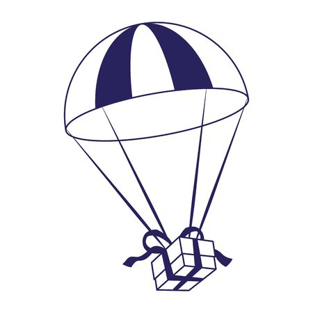 parachute with gift box over white background, vector illustration