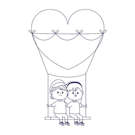 happy boy and girl in hearts swing over white background, flat design, vector illustration