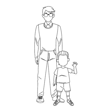 man and little boy icon over white background, vector illustration