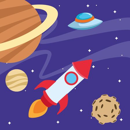 space rocket and flying saucer in the space around the planets, colorful design. vector illustration