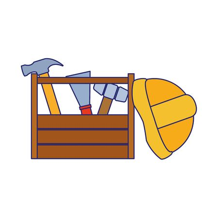 wooden box with tools and construction helmet over white background, vector illustration