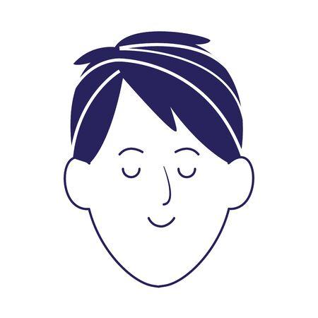 cartoon man with eyes closed over white background, flat design, vector illustration Иллюстрация