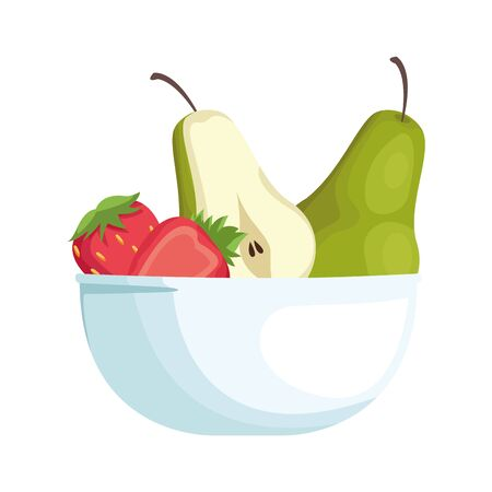 bowl with healthy fruits icon over white background, vector illustration Ilustrace