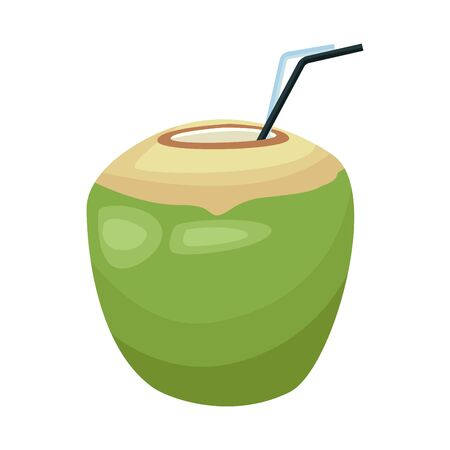 coconut drink icon over white background, vector illustration Ilustrace