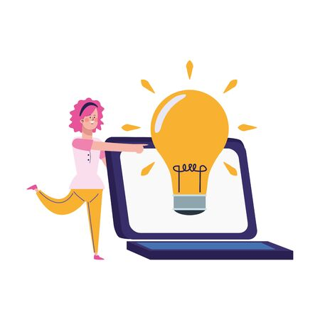 cartoon woman and laptop computer with big bulb light icon over white background, vector illustration