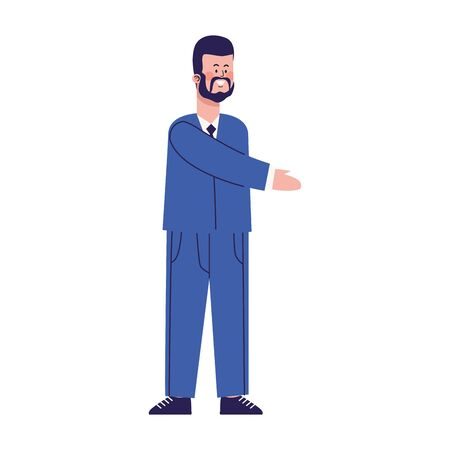 happy businessman standing icon over white background, vector illustration