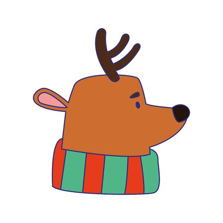cartoon christmas deer with scarf over white background, vector illustration