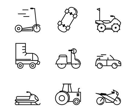 transport vehicle linear design set icons vector illustration Ilustrace