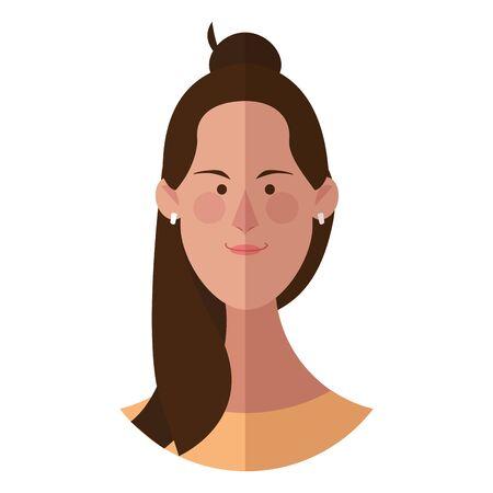 Woman face cartoon profile vector illustration graphic design