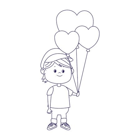 cartoon boy with hearts balloons over white background, flat design, vector illustration