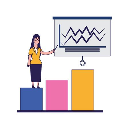 graphic bar chart with woman pointing a board over white background, vector illustration
