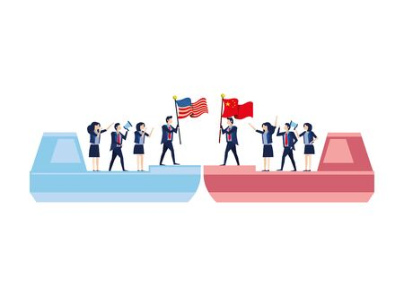 merchant ships with business people and usa and china flags vector illustration design Illustration