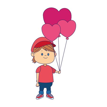 cartoon boy with hearts balloons over white background, vector illustration