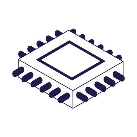 electronic chip icon over white background, vector illustration Vektorové ilustrace