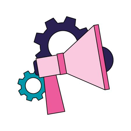 gear wheels and megaphone device icon over white background, colorful design, vector illustration Ilustrace