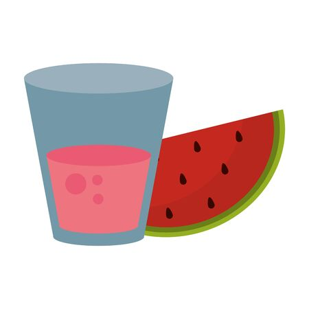 Watermelon juice cup with fruit vector illustration graphic design