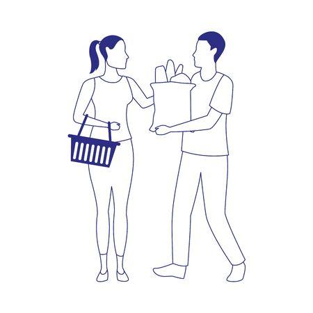 avatar man and woman with supermarket basket and bag icon over white background, black and white design. vector illustration Ilustração