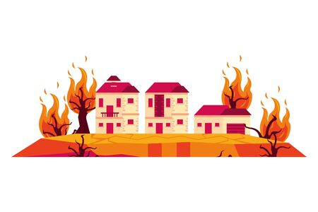 houses in fire forest dry global warming scene vector illustration design Ilustrace