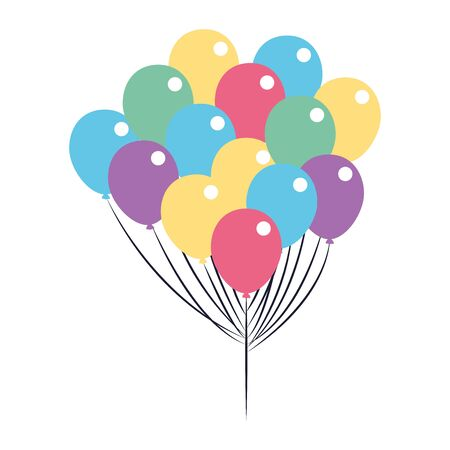 party balloons icon over white background, vector illustration Ilustracja