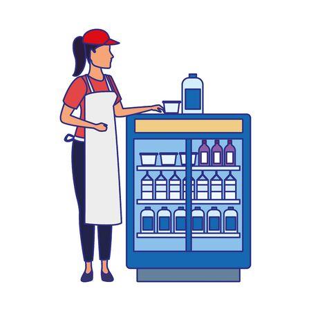 supermarket woman worker next to beverages fridge over white background, vector illustration