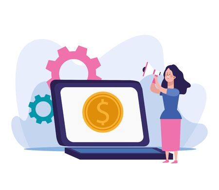 woman using a megaphone and laptop computer with money coin icon on screen over white background, vector illustration Vektoros illusztráció
