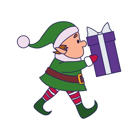 christmas elf holding a gift box over white background, vector illustration