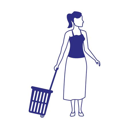 avatar woman with Rolling Shopping Basket over white background, vector illustration 일러스트